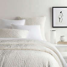 ON SALE:  Dove White Velvet Parisienne Quilt and Shams by Pine Cone Hill