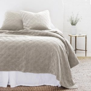 Brussels Reversible Taupe Velvet/Cotton Quilt & Shams by Pom Pom At Home