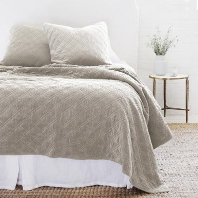 Brussels Reversible Taupe Velvet/Cotton Quilt and Sham by Pom Pom At Home
