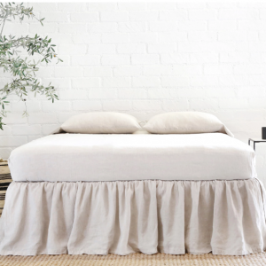 Gathered Linen Bed Skirt on Decking by Pom Pom at Home