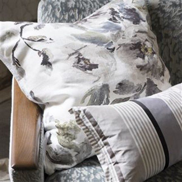 Shanghai Garden Ecru Linen Throw Pillow by Designers Guild