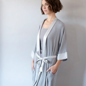 Dark Silver Shala Satin Trim Robe by PJ Harlow
