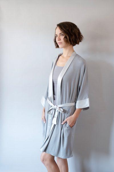 Dark Silver Shala Satin Trim Robe by PJ Harlow