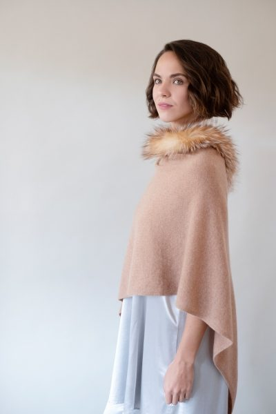 Fox Trimmed Cashmere Wrap by Alashan