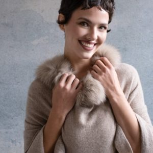 Fur Trimmed Cashmere Topper