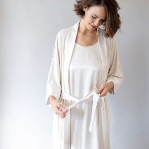 Eggnog Shala Satin Trim Robe by Pj Harlow