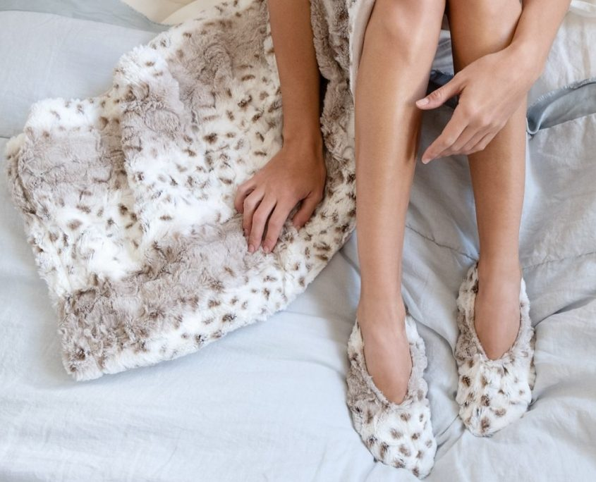 sonoma lavender arctic fox faux fur heatable lavender spa therapy lap blanket