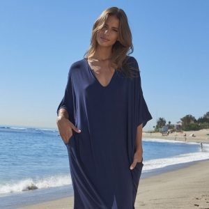 Luxe Milk Jersey Indigo Short Caftan by Barefoot Dreams