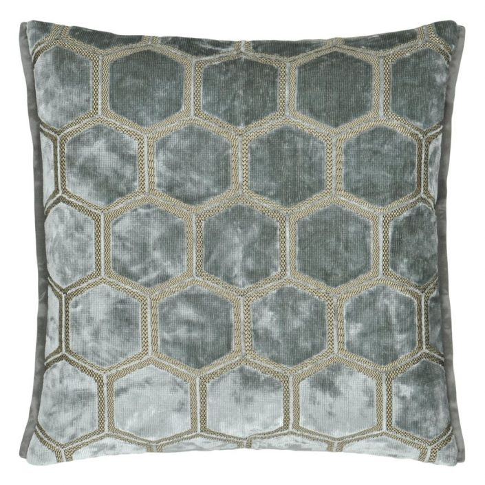 Manipur Silver Decorative Pillow by Designers Guild