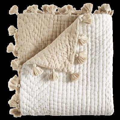 Sahati Reversible White Sand Tasseled Lap Quilt by John Robshaw