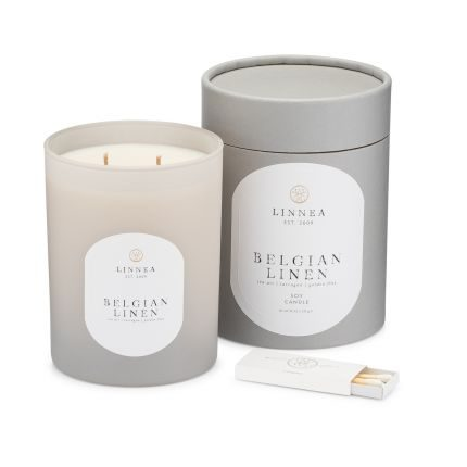 Belgian Linen Classic Candle by Linneas Lights