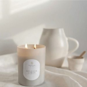 Belgian Linen Classic Candle by Linneas Lights