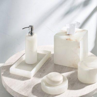 Alabaster Bath Accessories Collection