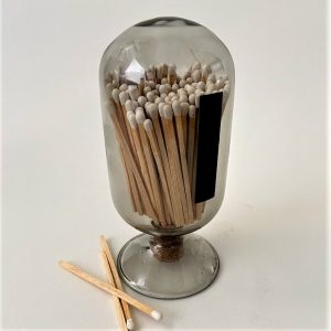 Smoke Blown Glass Match Cloche