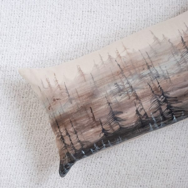 Tree Lines Hand Painted Decorative Pillow