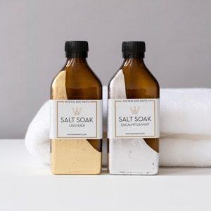 Luxury Salt Soak in Hand Leafed Bottle